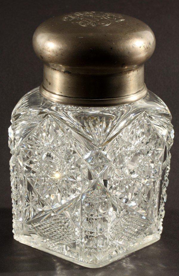 455: ANTIQUE RUSSIAN GLASS SILVER TEA CADDY