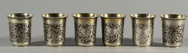 587: SET OF 6 ANTIQUE RUSSIAN SILVER NIELLO VODKA CUPS