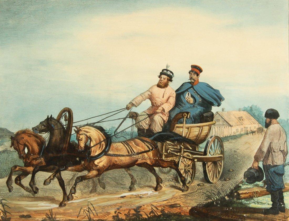 """12: A RUSSIAN HAND-COLORED LITHOGRAPH, CIRCA 1840, """"Voi"""