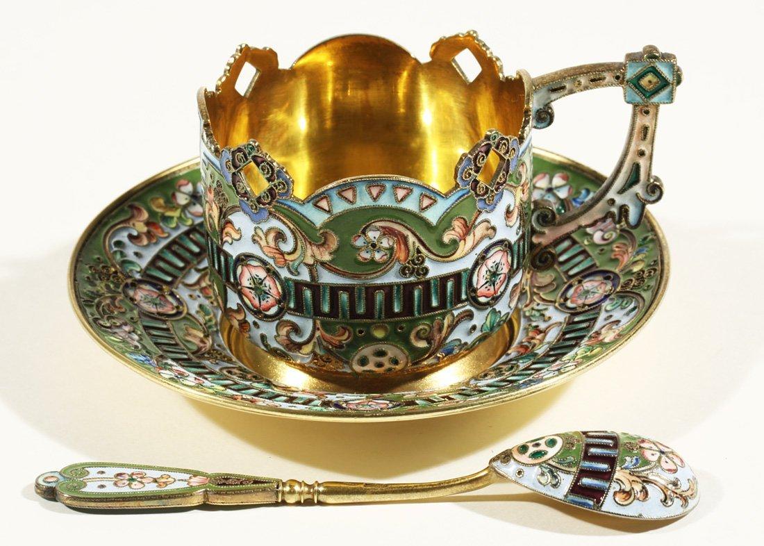 20: A SILVER GILT AND SHADED CLOISONNÉ ENAMEL TEA SET,