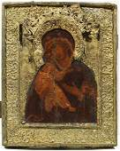145: AN OLD BELIEVERS RUSSIAN ICON OF THE VLADIMIR MOT