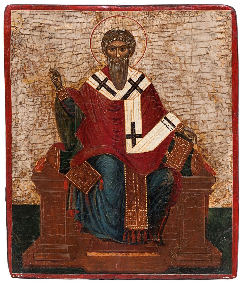 A GREEK ICON OF SAINT CLEMENT, CIRCA 1600