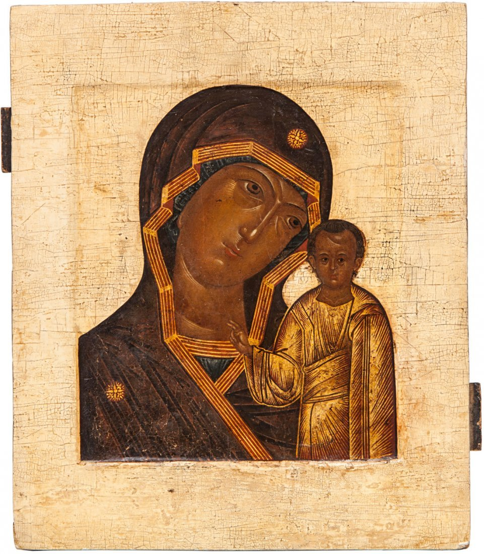 A RUSSIAN ICON OF THE KAZANSKAYA MOTHER OF GOD, 17TH CE