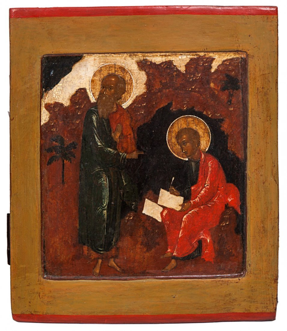 A RUSSIAN ICON OF JOHN THE REVELATOR ON THE ISLAND OF