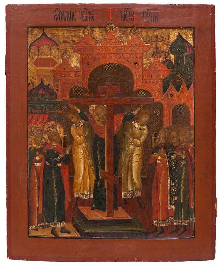 A RUSSIAN ICON OF THE EXALTATION OF THE CROSS, YAROSLAV