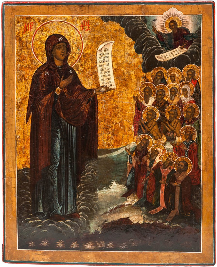 A RUSSIAN ICON OF THE BOGOLYUBSKAYA VIRGIN, 19TH C