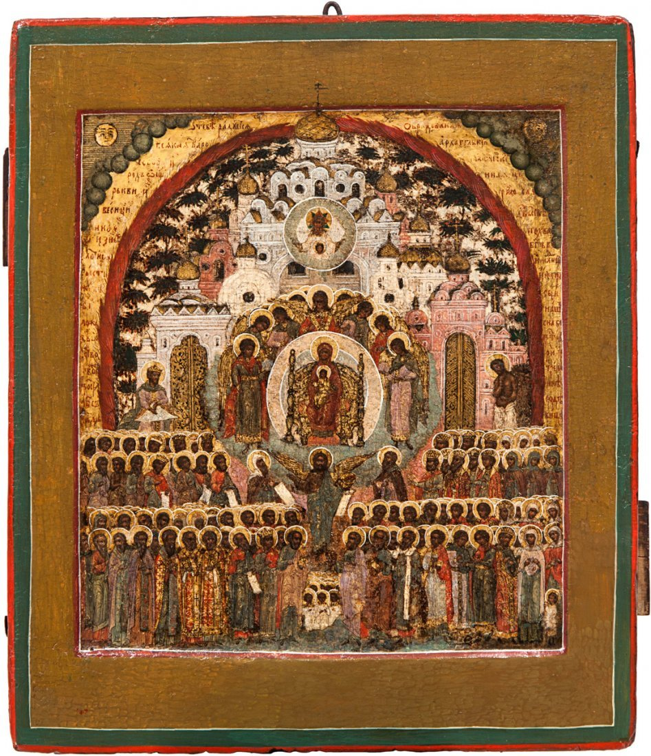 A RUSSIAN ICON OF THE MOTHER OF GOD O TEBYE RADUYETSA [