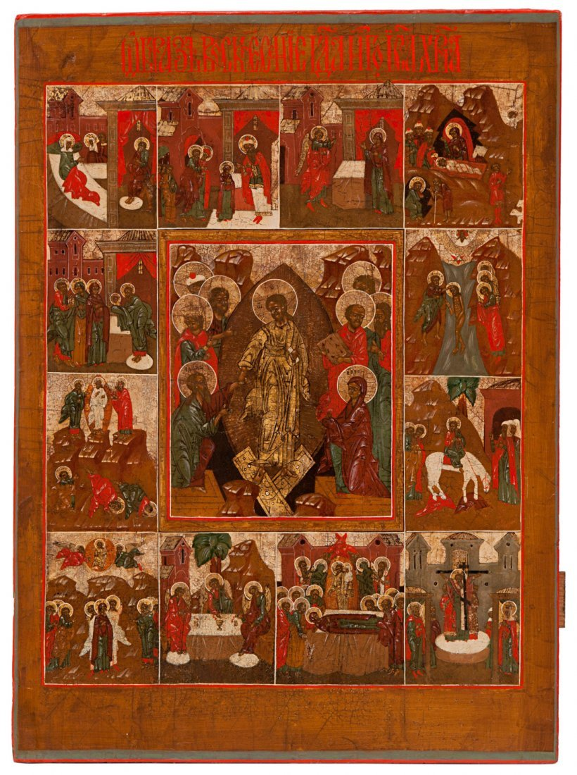 A RUSSIAN HOLIDAY ICON OF THE RESURRECTION,  POSHEHON R