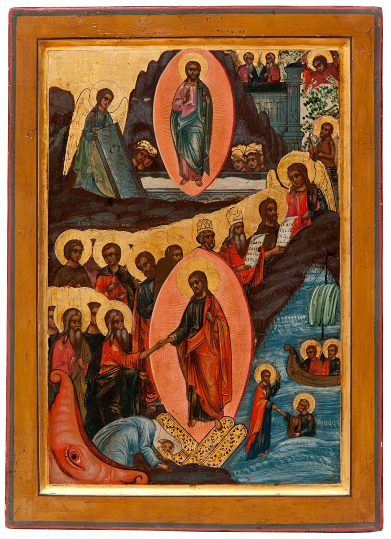 A RUSSIAN ICON OF THE DESCENT INTO HELL AND RESURRECTIO