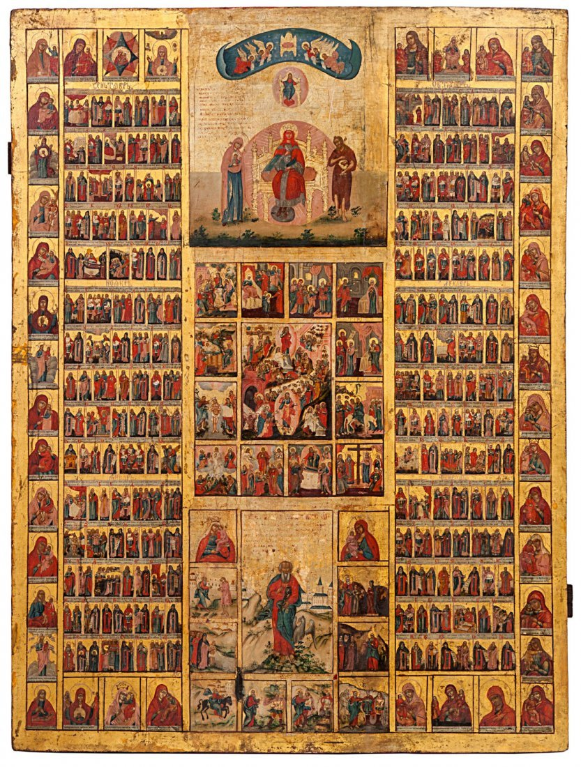 A MONUMENTAL RUSSIAN CALENDAR ICON, SECOND HALF 18TH C.