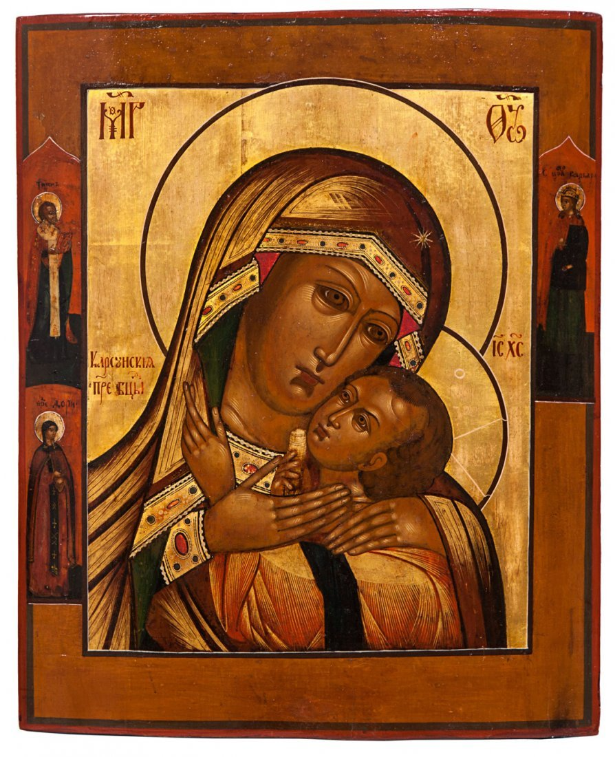 A RUSSIAN ICON OF THE KORSUNSKAYA MOTHER OF GOD, 19TH C