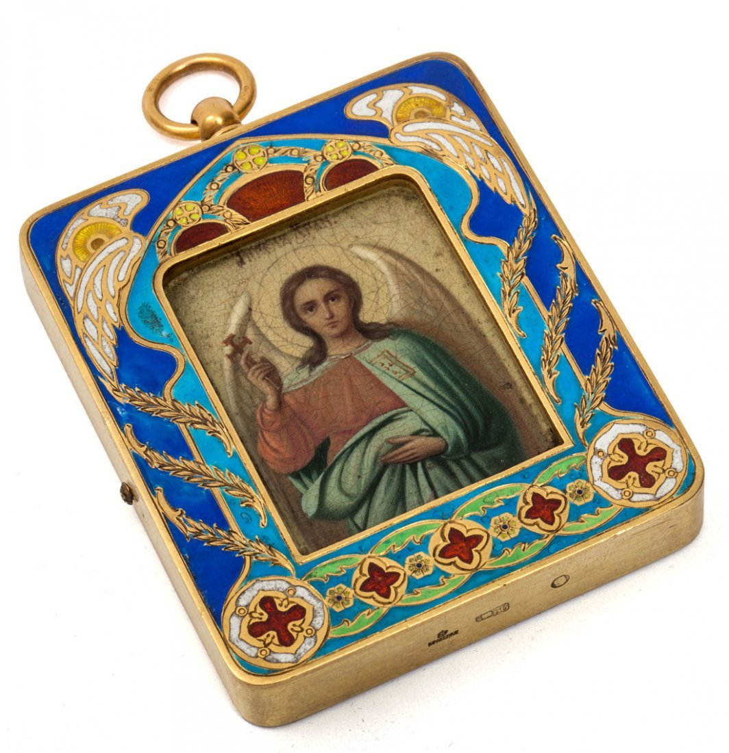 A MINIATURE FABERGE ICON OF A GUARDIAN ANGEL IN A GOLD