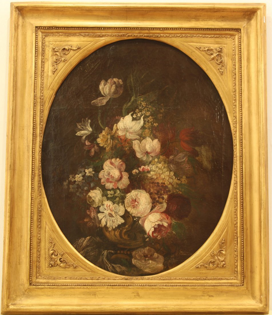 A FRENCH FLORAL STILL LIFE, 18TH CENTURY., oil on canva