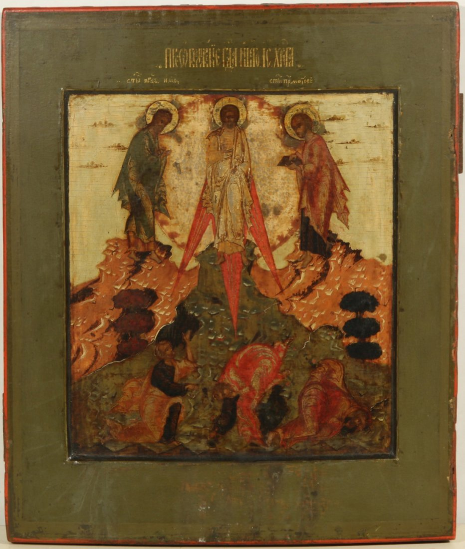 RUSSIAN ICON OF THE TRANSFIGURATION LATE 18TH C