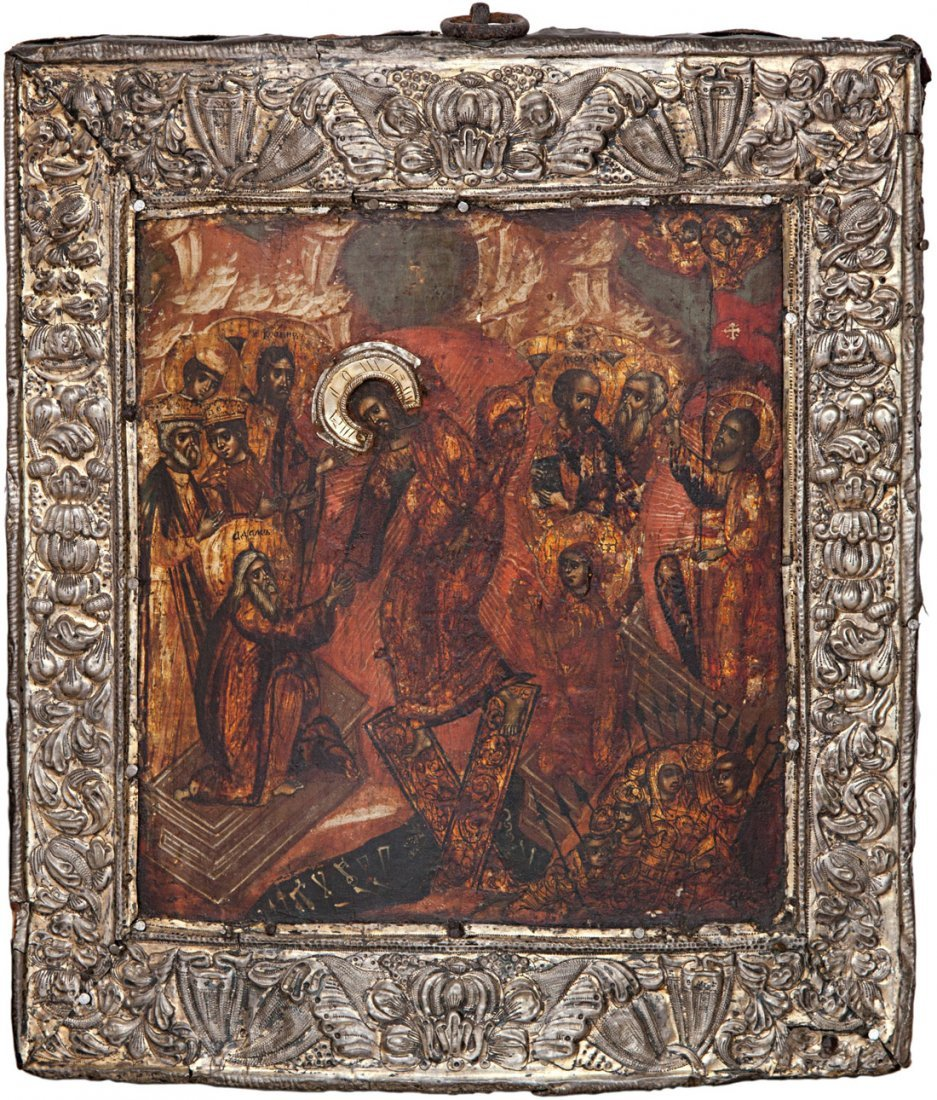 RUSSIAN ICON OF DESCENT INTO HELL OF CHRIST 1800