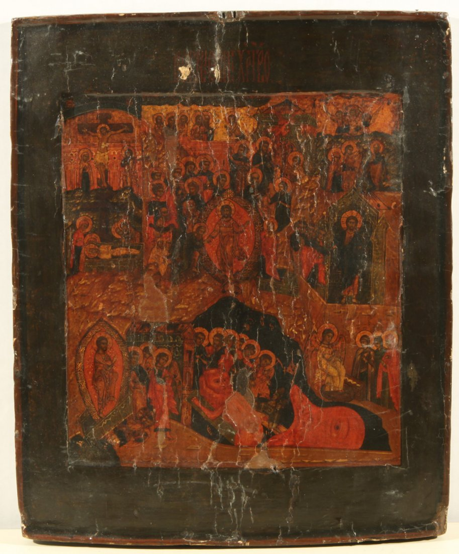 RUSSIAN ICON DESCENT INTO HELL AND RESURRECTION C1800