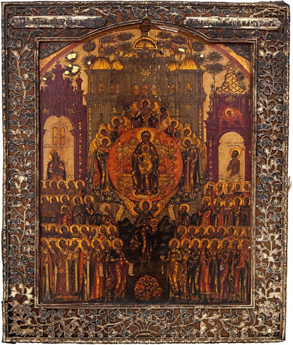 Russian Icon Of Pokhvala Bogoroditsi 18th Century