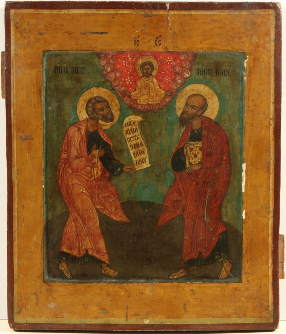 RUSSIAN ICON OF APOSTLES PETER AND PAVEL 19TH C