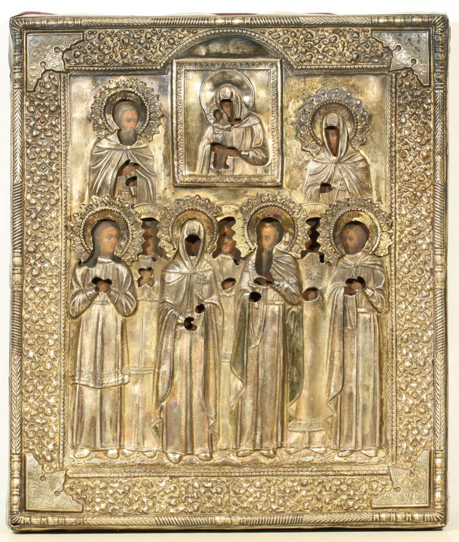 RUSSIAN SILVER ICON MOTHER OF GOD, 9 MARTYRS C1895