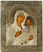 RUSSIAN SILVER ICON IVERSKAYA MOTHER OF GOD C1869