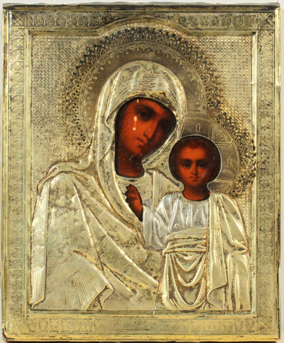 RUSSIAN SILVER ICON KAZANSKAYA MOTHER OF GOD C1899