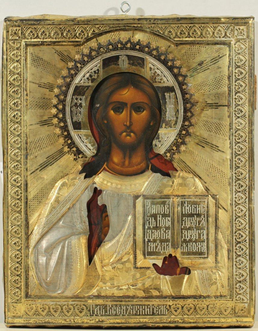 RUSSIAN ICON OF CHRIST PANTOCRATOR C1899