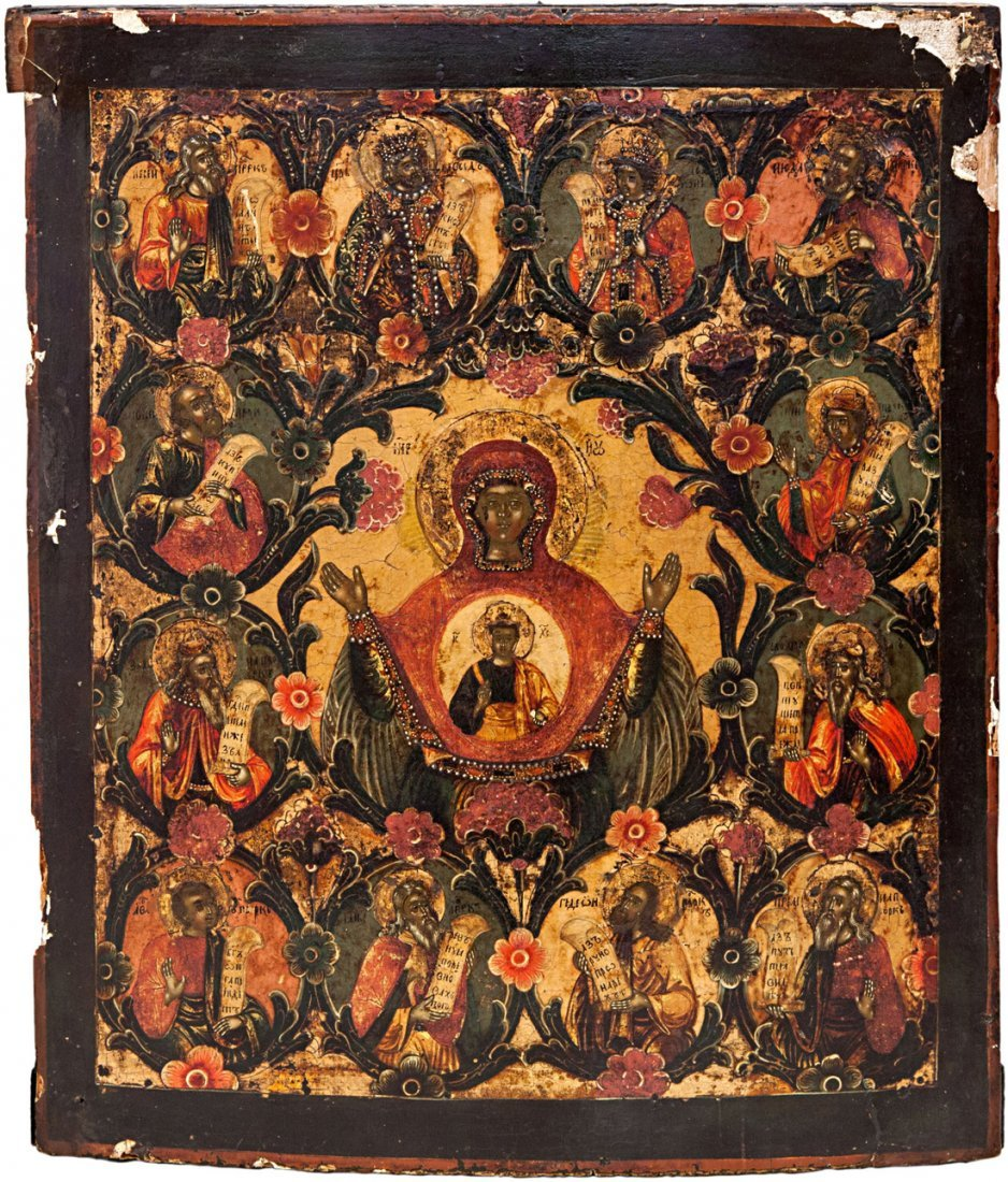 RUSSIAN ICON OF OUR LADY OF THE SIGN ZNAMENIE 18TH C