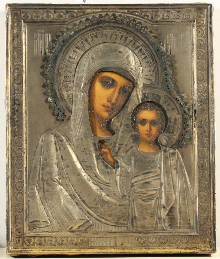 RUSSIAN ICON SILVER KAZANSKAYA MOTHER OF GOD C1908