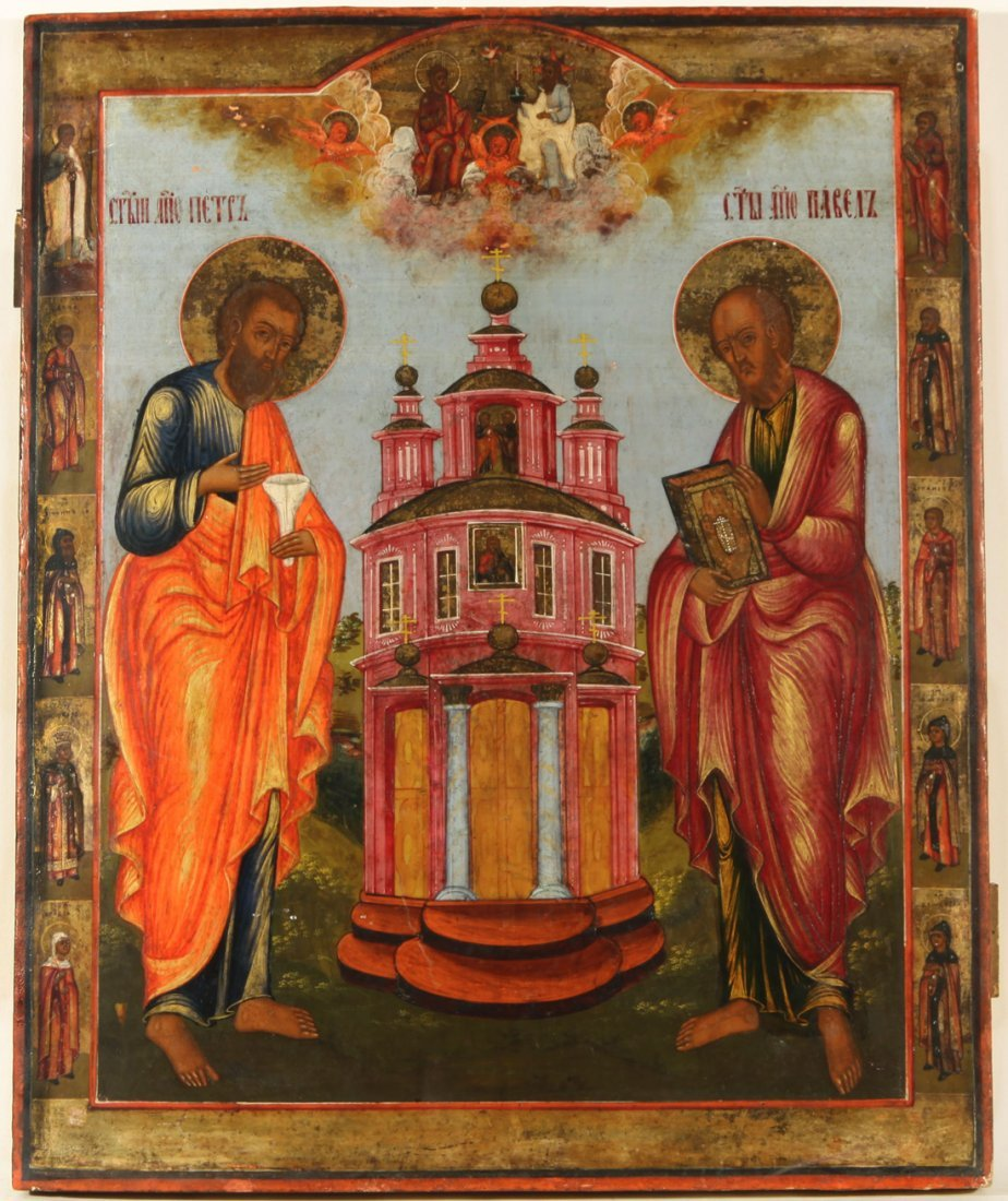RUSSIAN ICON ST PETER AND ST PAUL MID 19C