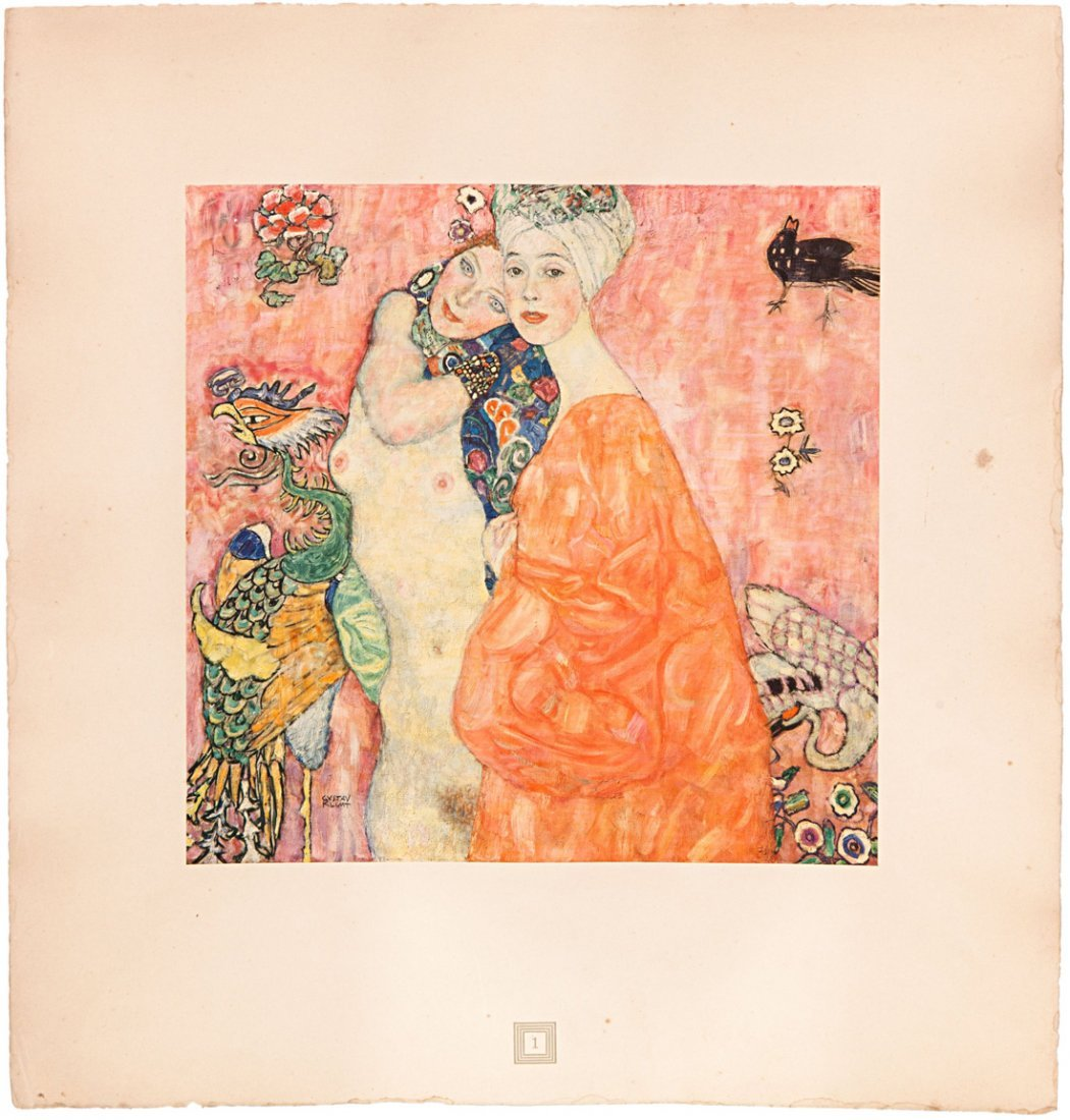 GUSTAV KLIMT NACHLESE ANTIQUE BOOK WITH COLOR PLATES