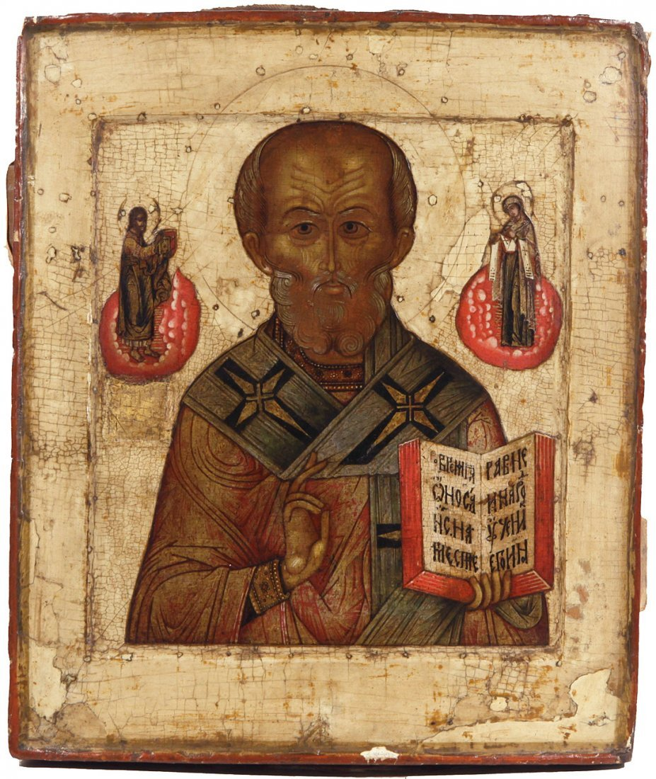 A RUSSIAN ICON OF SAINT NICHOLAS THE WONDERWORKER,