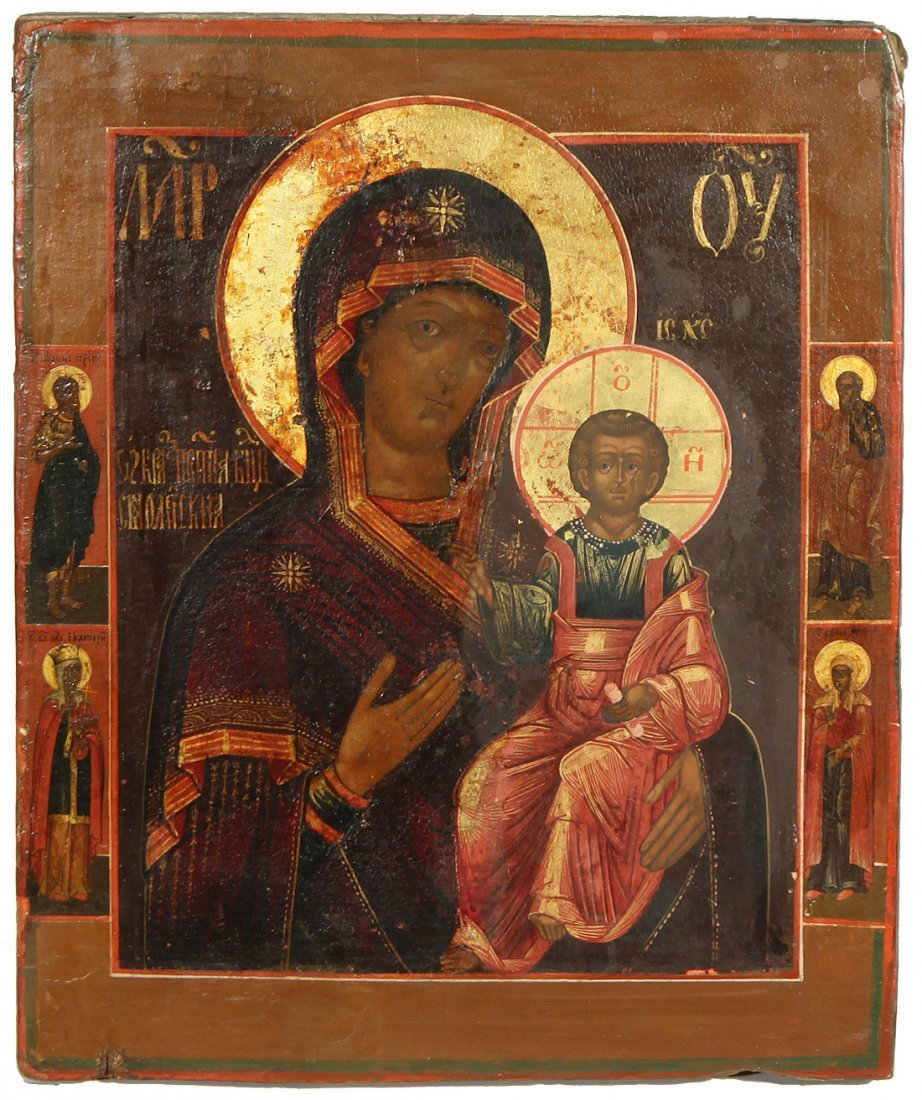 A RUSSIAN ICON OF SMOLENSKAYA MOTHER OF GOD, MOSCOW