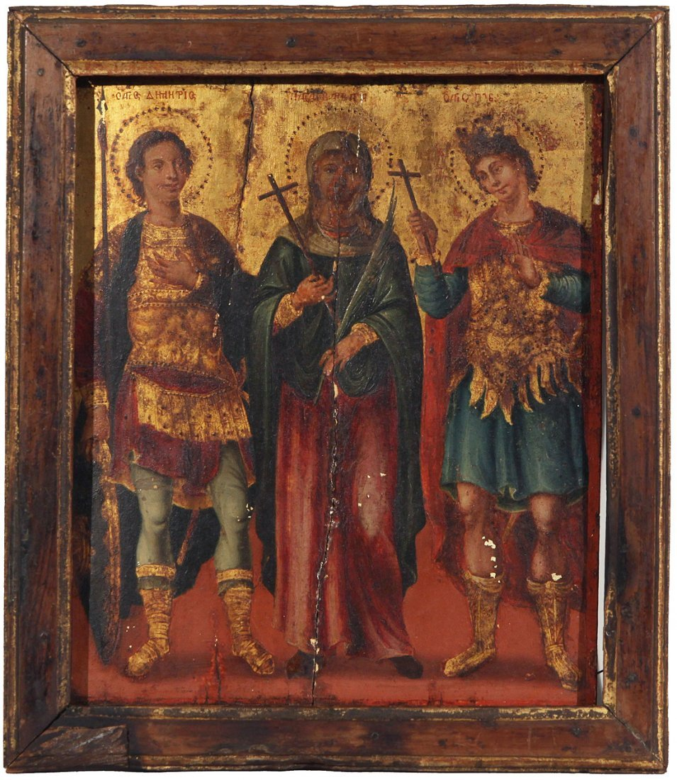 A GREEK ORTHODOX ICON OF THREE SAINTS, with Saint
