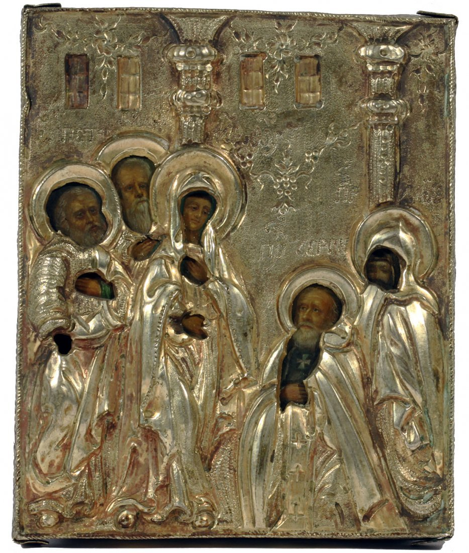 A RUSSIAN MINIATURE ICON WITH 5 SAINTS IN GILT SILVER
