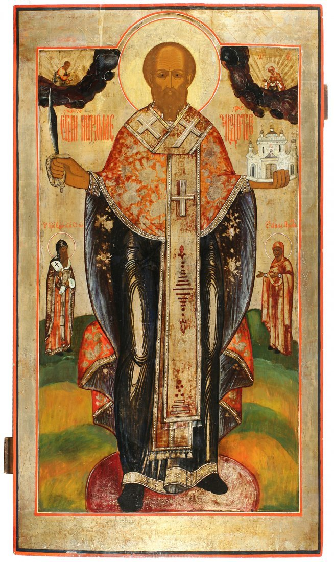 A LARGE RUSSIAN ICON OF SAINT NICHOLAS THE WONDERWORKER