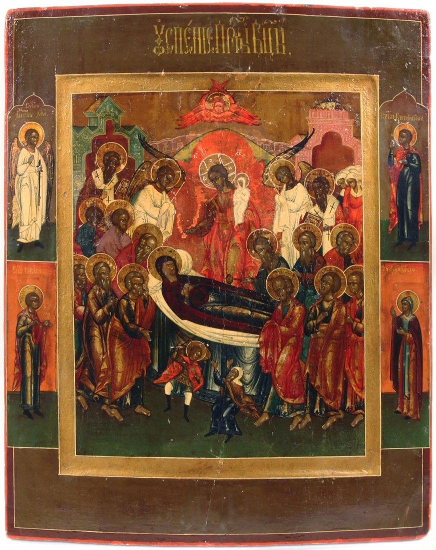A RUSSIAN ICON OF THE DORMITION OF THE VIRGIN MARY,