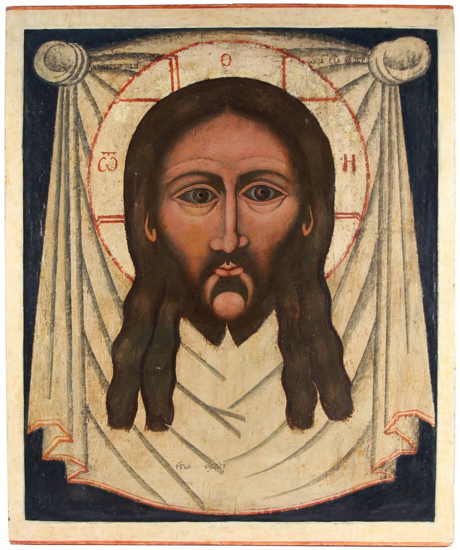 A RUSSIAN DOUBLE SIDED ICON OF THE HOLY FACE (SPAS