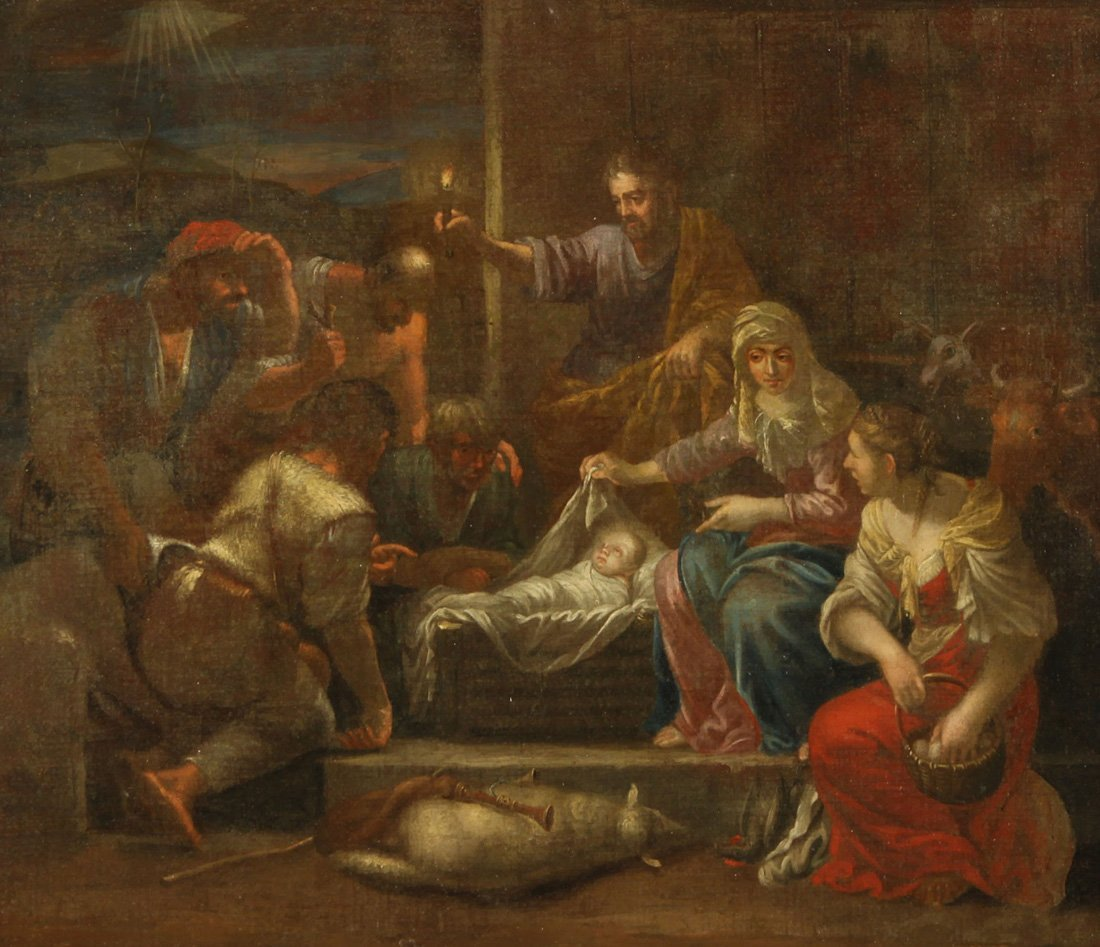 AN 18TH CENTURY OLD MASTER PAINTING, 'Birth of Jesus',