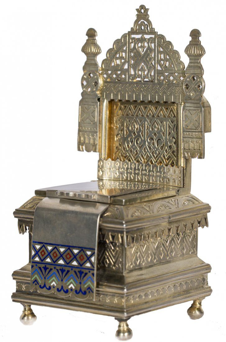 A RUSSIAN GILT SILVER AND CHAMPLEVE ENAMEL THRONE SALT