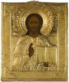A RUSSIAN ICON OF CHRIST PANTOCRATOR IN GILT SILVER