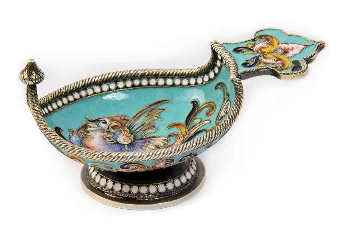 A MINIATURE SILVER AND CLOISONNE ENAMEL KOVSH, MARKED