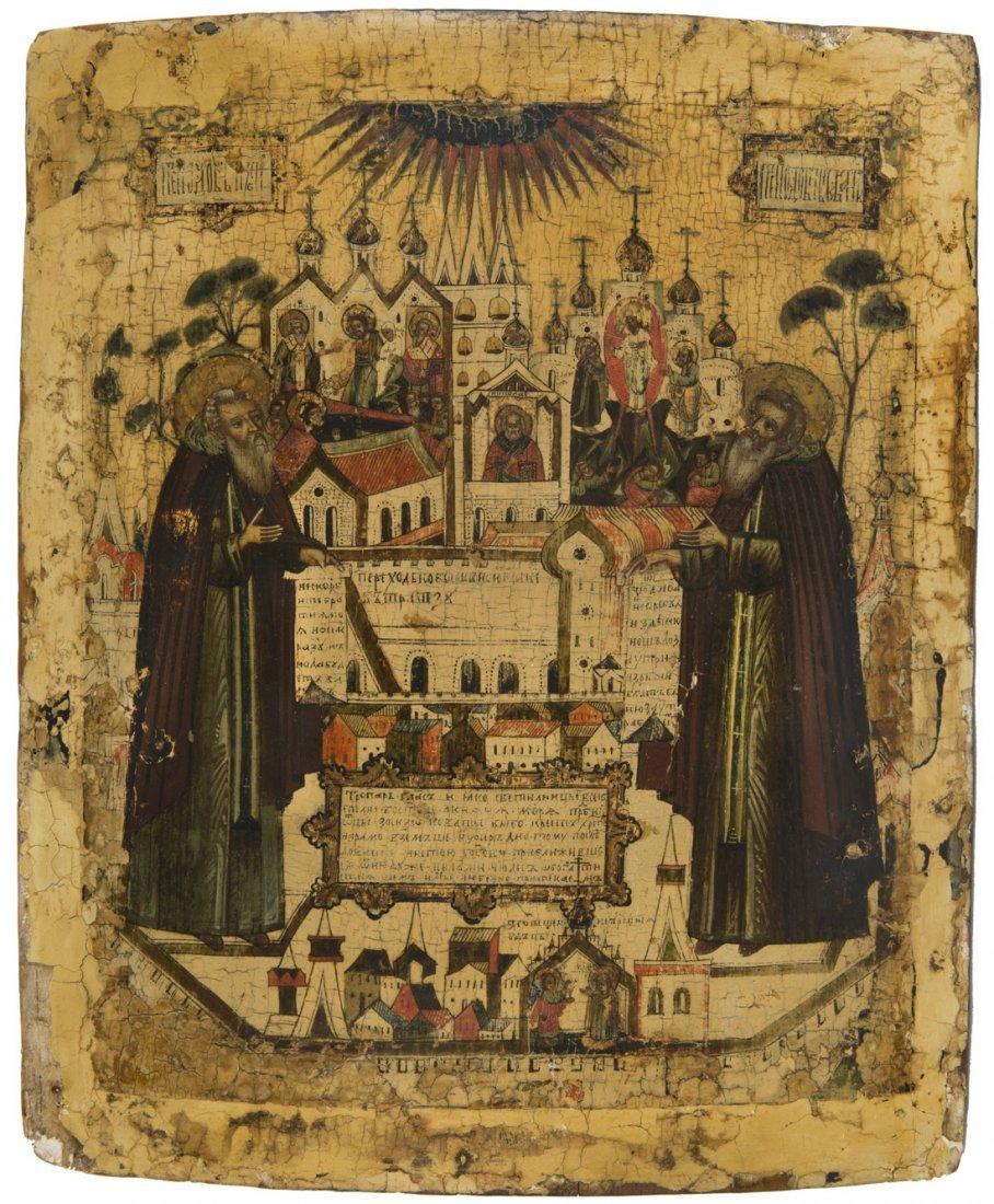 A RUSSIAN ICON OF SAINTS ZOSIMA AND SAVATIY OF SOLOVKI,