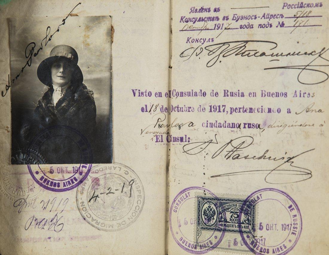 ANNA PAVLOVA`S INTERNATIONAL PASSPORT, 1914-1925, This