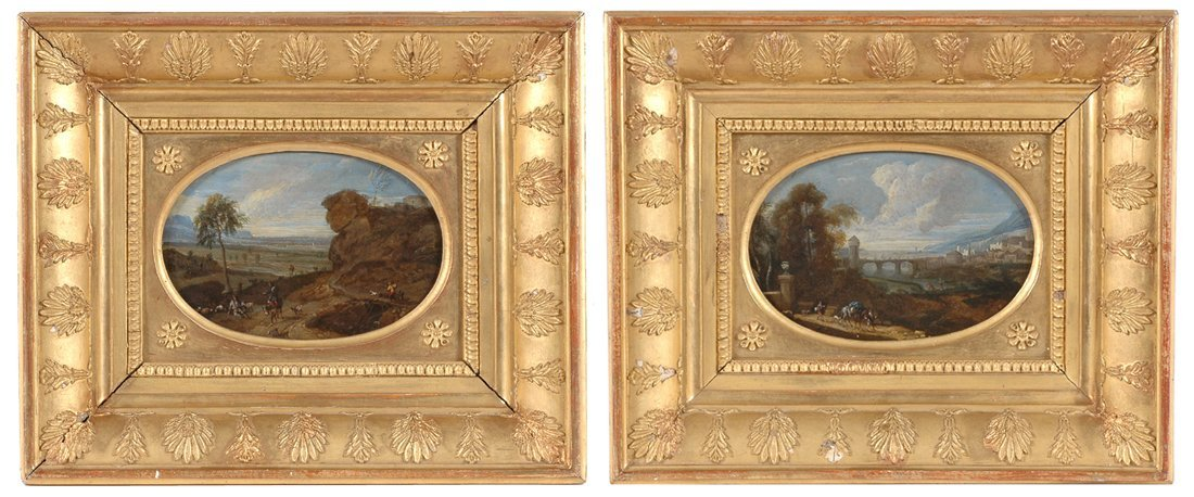 A PAIR OF EARLY LANDSCAPE PAINTINGS ATTRIBUTED TO