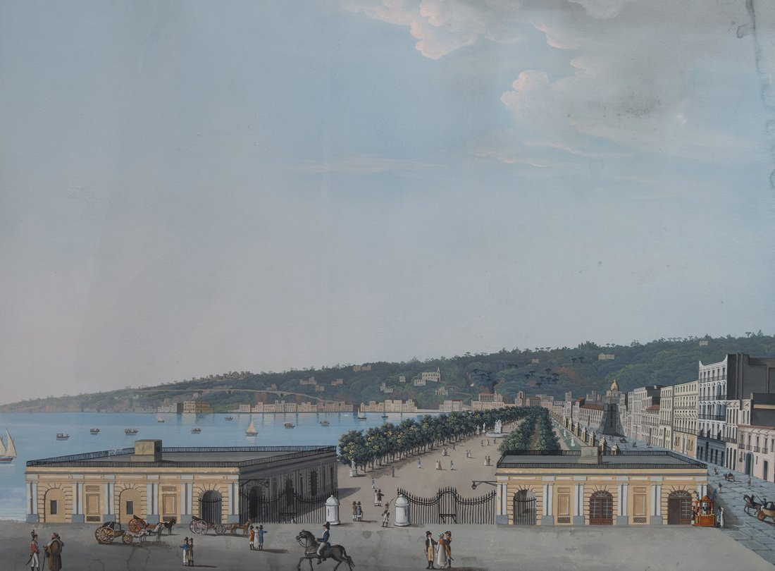 19TH CENTURY NEAPOLITAN GOUACHE  Villa Reale, Naples ,
