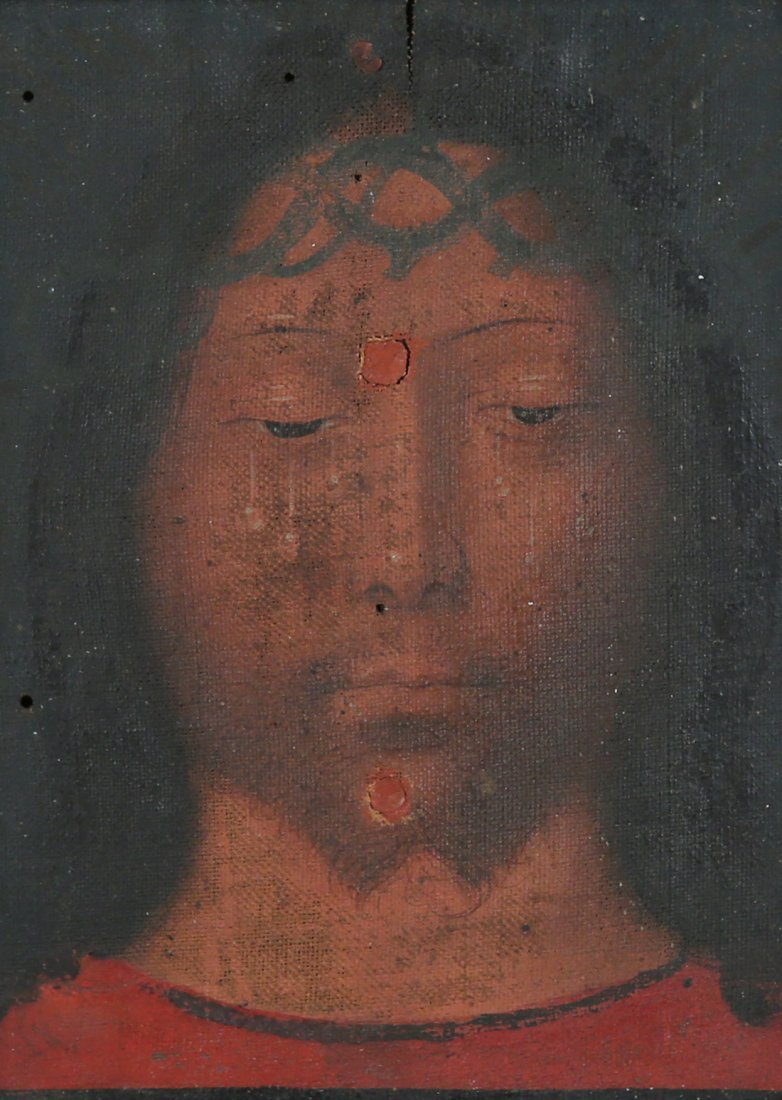 AN OLD MASTER PAINTING OF JESUS CHRIST WEARING THE