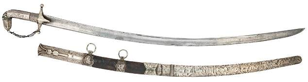 A CAUCASIAN RUSSIAN SHAMSHIR SWORD WITH DAMASCUS BLADE