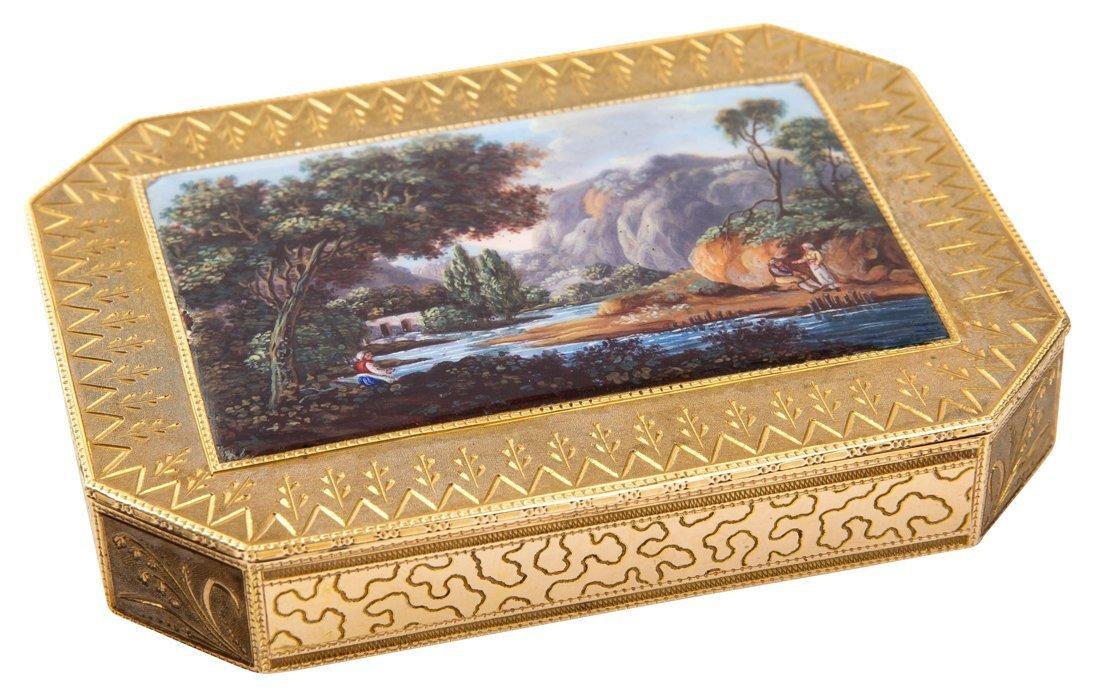 A SWISS GOLD SNUFF BOX SET WITH A MINIATURE ENAMEL