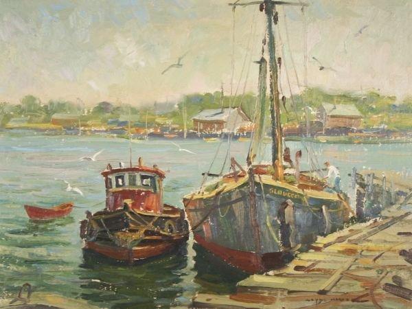 1: WAYNE MORRELL b1923 Gloucester Mass Oil Painting