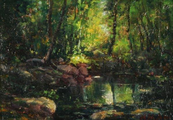 5: HENRY AHL 1869-1953 American Tonalist Oil Painting